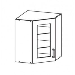 PLATE PLUS horní skříňka GNWU vitrína - rohová, korpus bílá alpská, dvířka světle šedá