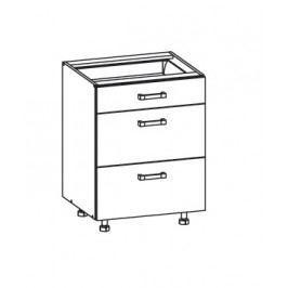 PLATE PLUS dolní skříňka D3S 60 SAMBOX, korpus šedá grenola, dvířka bílá perlová