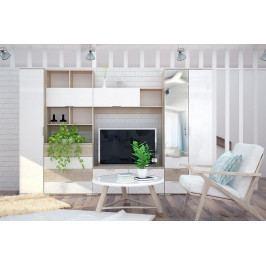 Obývací stěna TERRA II, sonoma/bílá lesk