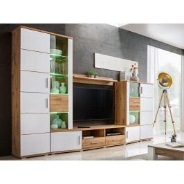 Obývací stěna ELMA 2, dub wotan/bílá