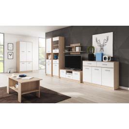 Obývací pokoj TULIA, vzorová sestava, dub sonoma/bílá