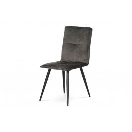 Jídelní židle, šedá látka samet, kov černý mat DCL-601 GREY4