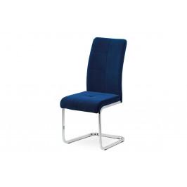 Jídelní židle, modrá sametová látka, kovová pohupová chromovaná podnož DCL-440 BLUE4