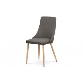 Jídelní židle, coffee látka, kovové nohy, dekor dub HC-355 COF2
