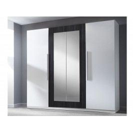 Smartshop VIERA skříň se zrcadlem, bílá/ořech černý