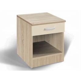 Noční stolek ALFA, dub/béžový lesk DOPRODEJ