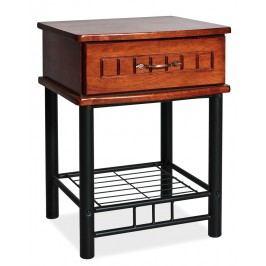 Noční stolek SOPHIA, antická třešeň/černý kov