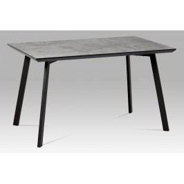 Jídelní stůl MDT-620 GREY3 130x80 cm, imitace betonu + nohy černý mat