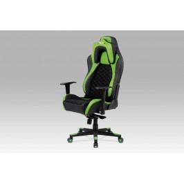 Kancelářská židle KA-F04 GRN, černá látka MESH / zelená + černá koženka