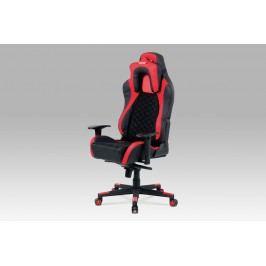 Kancelářská židle KA-F04 RED, černá látka MESH / červená + černá koženka