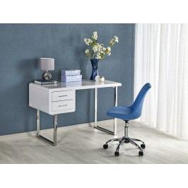 Halmar Minimalistický psací stůl B30, bílý lesk/stříbrná
