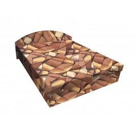 Čalouněná postel ÁJA 140x200 cm, hnědožlutá látka