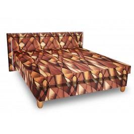 Čalouněná postel IVA 160x195 cm, hnědožlutá látka