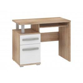 MORAVIA FLAT ANGEL PC stůl 1D1S, dub sonoma/bílý lesk