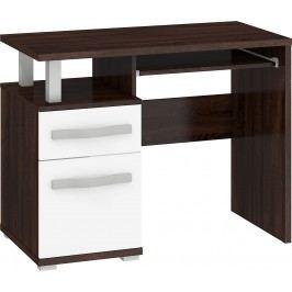 MORAVIA FLAT ANGEL PC stůl 1D1S, dub sonoma tmavý/bílý lesk