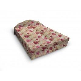 Čalouněná postel JITKA 140x200 cm, květinový vzor