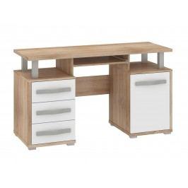 MORAVIA FLAT ANGEL PC stůl 1D3S, dub sonoma/bílý lesk