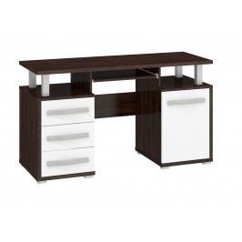 MORAVIA FLAT ANGEL PC stůl 1D3S, dub sonoma tmavý/bílý lesk