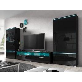 Smartshop AMBER obývací stěna TYP 10, černá/černý lesk