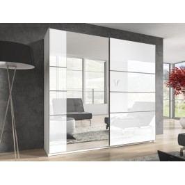 Smartshop BETA šatní skříň se zrcadlem 200 TYP 57, bílá/bílý lesk
