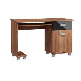 MORAVIA FLAT PC stůl se zásuvkou a skříňkou SOLO, SOL-01, švestka wallis/černý lesk