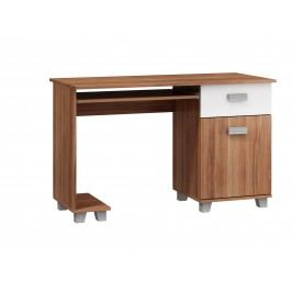 MORAVIA FLAT PC stůl se skříňkou SOLO, SOL-01, švestka wallis/bílá