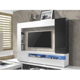 Smartshop MERIDA obývací stěna TYP 10, bílá/bílý lesk/antracit lesk