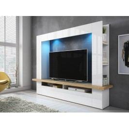 Smartshop LUGO obývací stěna, dub beaufort/bílá/bílý lesk