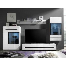 HEKTOR obývací stěna 10, bílá/bílý lesk