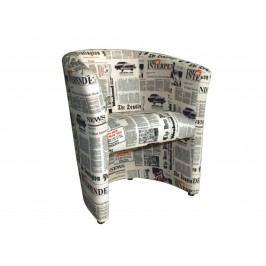 Smartshop Křeslo CUBA, látka potisk noviny