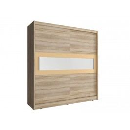 Skříň WIKI IV s pruhem zrcadla 200 cm, dub sonoma