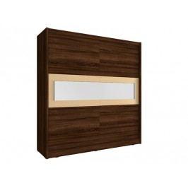 Skříň WIKI IV s pruhem zrcadla 200 cm, dub sonoma čokoládový