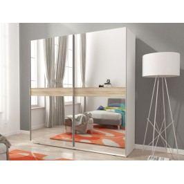 Smartshop Skříň MIKA V se zrcadlem 200 cm, bílá/dub sonoma
