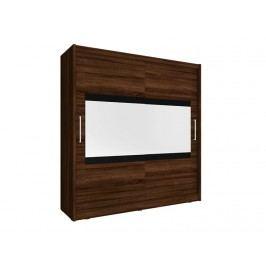 Skříň MAJA IV se zrcadlem 200 cm, dub sonoma čokoládový
