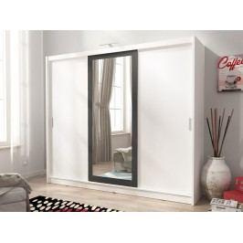 Skříň WIKI II 250 cm se zrcadlem, bílá