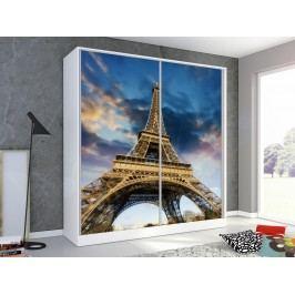 Skříň s obrázkem PAŘÍŽ 200 cm, bílá