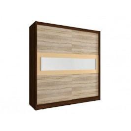 Skříň WIKI IV s pruhem zrcadla 200 cm, dub sonoma čokoládový/dub sonoma