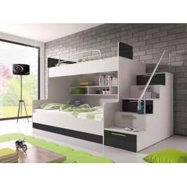 Smartshop Patrová postel RAJ 2 levá, bílá/černý lesk