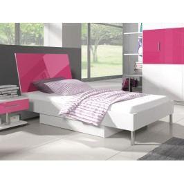 Postel 90x200 cm RAJ 3, bílá/růžový lesk