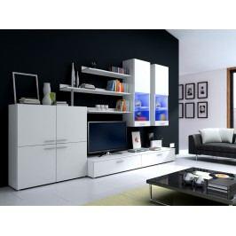 Obývací stěna DELTA II s LED osvětlením, bílá/bílý lesk