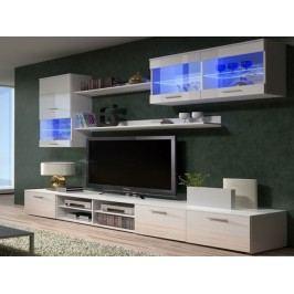 Obývací stěna BETA II s LED osvětlením, bílá/bílý lesk