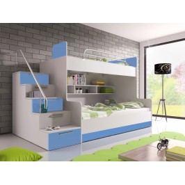 Patrová postel RAJ 2 levá, bílá/modrý lesk
