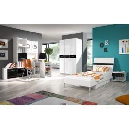 Smartshop Dětský pokoj RAJ 1, bílá/černý lesk