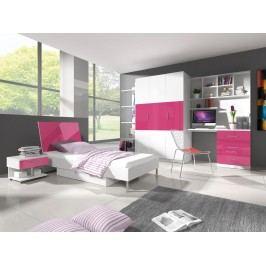Dětský pokoj RAJ 3, bílá/růžový lesk