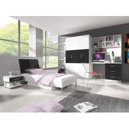 Dětský pokoj RAJ 3, bílá/černý lesk
