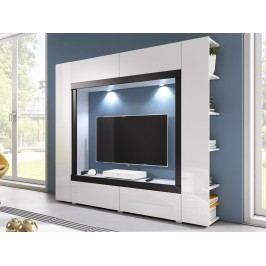 Smartshop Obývací stěna NOVEL, bílý lesk/černý lesk