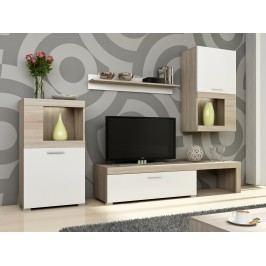 Obývací stěna FOLK, dub sonoma/bílá