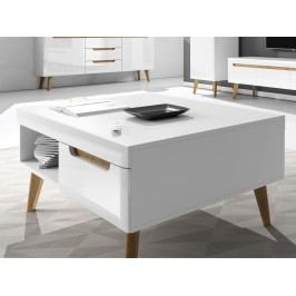Smartshop Konferenční stolek NORDI NL107, bílá/bílý lesk/dub riviera