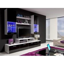 Obývací stěna MINI II s LED osvětlením, bílá/černý lesk