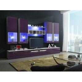 Obývací stěna ALFA II s LED osvětlením, bílá/fialový lesk